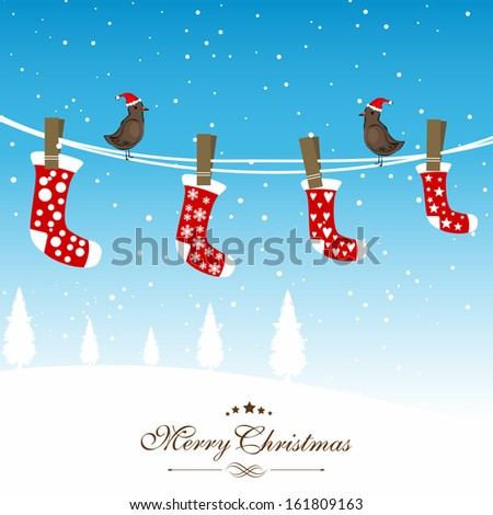 Winter Merry Christmas celebration background with hanging red Christmas stockings and love birds in Santa Hat.  - stock vector