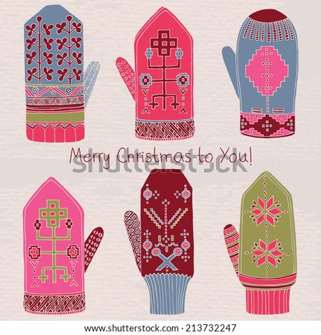Winter mittens. Merry Christmas card. - stock vector