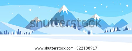 Winter Mountain Forest Landscape Background, Pine Snow Trees Woods Flat Vector Illustration - stock vector