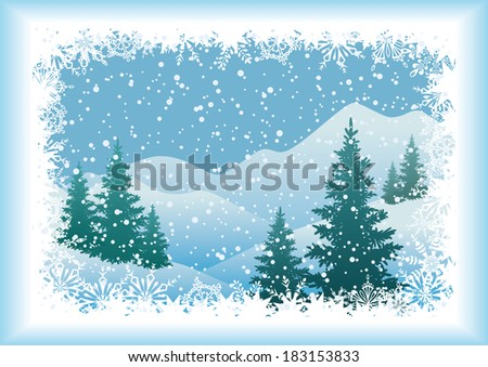 Winter mountain landscape with Christmas fir trees and snowflakes. Vector - stock vector