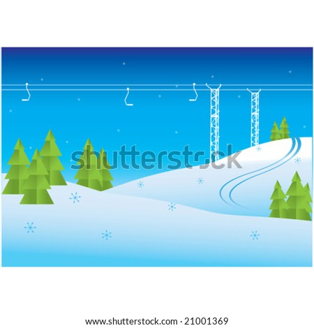 Winter mountain view and Chairlift resort vector illustration - stock vector