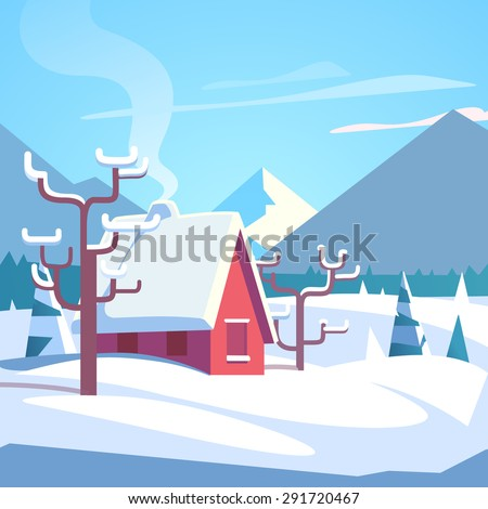 Winter mountains landscape scenic with small house with chimney smoke. Flat style vector illustration. - stock vector