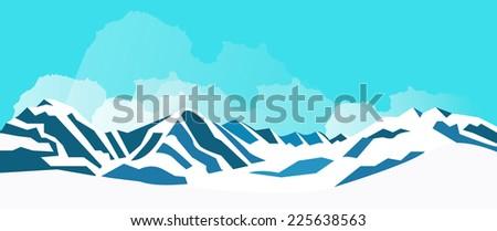 Winter mountains. vector illustration - stock vector