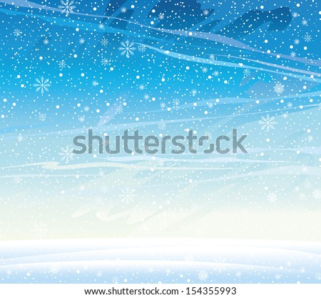 Winter nature landscape with snowfall. - stock vector