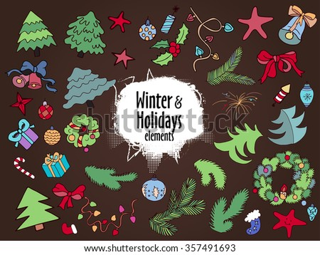 Winter, New year, Christmas colorful decorative elements for holiday design. Trendy flat style. Multicolored vector doodle collection. - stock vector