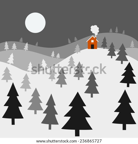 Winter Night Landscape - Landscape of a winter night, with a cozy red house on top of snow-covered hills.  All elements are individually grouped for easy editing.  Colors can be changed easily. - stock vector