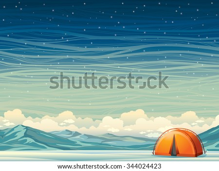 Winter night landscape - lonely orange travel tent and frozen mountains on a starry sky background. Nature vector illustration. Extreme camping. - stock vector