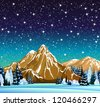 Winter night landscape with mountains, frozen trees and starry sky - stock vector