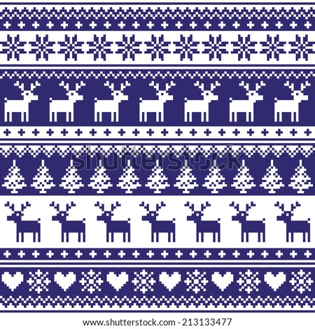 Winter, Nordic seamless navy blue pattern with reindeer - stock vector