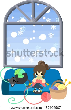 Winter one day when it snows, a woman is knitting and a black cat is frisking with woolen yarn. - stock vector