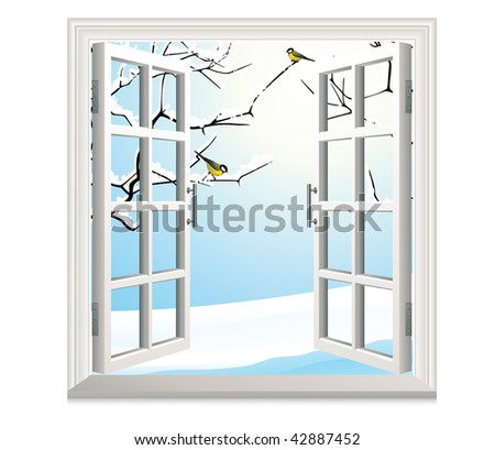 Winter open window, vector illustration - stock vector