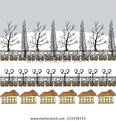 winter or early spring background with trees, lanterns and houses, grey sky, greeting card or packing paper - stock vector
