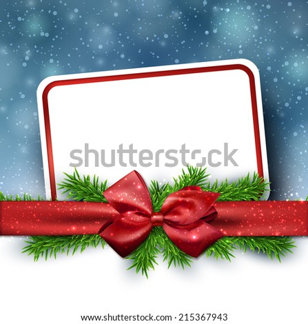 Winter paper card with crystallic snowflakes  background with red gift bow. Christmas fir tree decoration. Vector. - stock vector