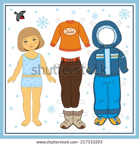 Winter paper doll with clothes for game - stock vector