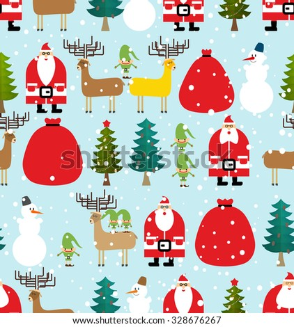 Winter pattern for Christmas and new year. Seamless background from elements of feast: Santa Claus and reindeer. Bag of gifts and Elf. Christmas tree and snowman. - stock vector