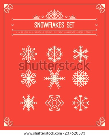 Winter patterns. Snowflakes. Christmas border. Vector. - stock vector