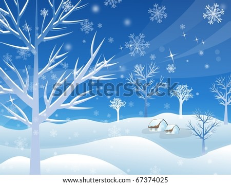 Winter Picture - stock vector
