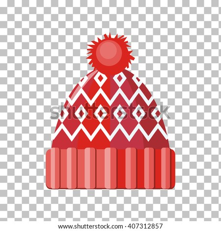 Winter red wool hat icon. Knitted winter woolen cap isolated on checkered background. Flat icon winter snowboard hat cap. Vector illustration - stock vector
