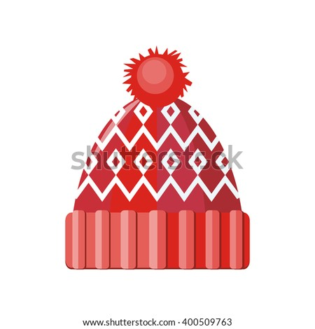 Winter red wool hat icon. Knitted winter woolen cap isolated on white background. Flat icon winter snowboard hat cap. Vector illustration - stock vector