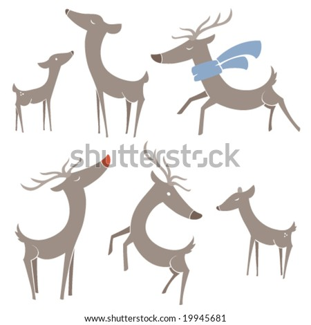 Winter Reindeer - stock vector