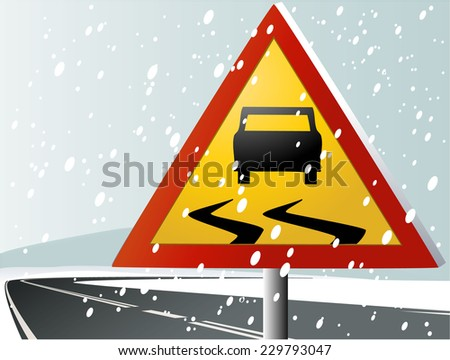 Winter road sign - stock vector
