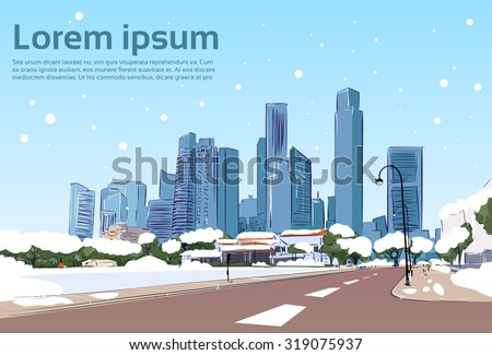 Winter Road to Modern City View Snow Skyscraper Cityscape Background with Copy Space Vector Illustration - stock vector