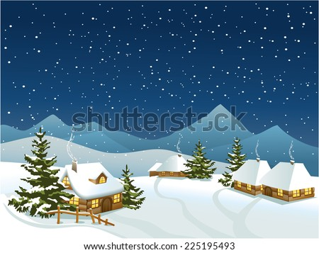 Winter rural landscape with mountains - stock vector