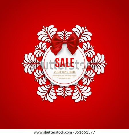 Winter sale background with snowflake and red bow. Christmas sale. New year sale - stock vector