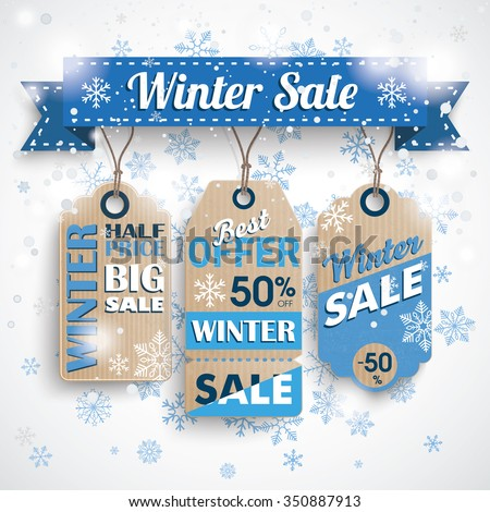 Winter sale ribbon with cardboard price stickers and snowflakes. Eps 10 vector file. - stock vector