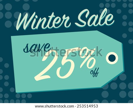Winter sale sign tag with 25% off original price - stock vector