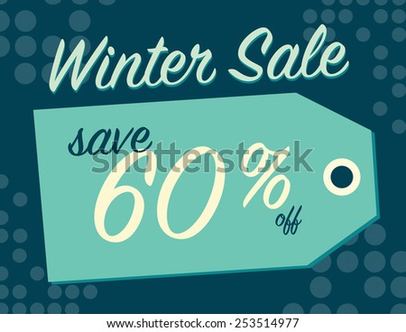 Winter sale sign tag with 60% off original price - stock vector