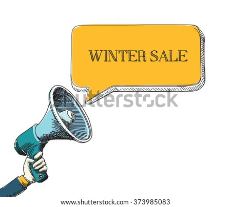 WINTER SALE word in speech bubble with sketch drawing style - stock vector