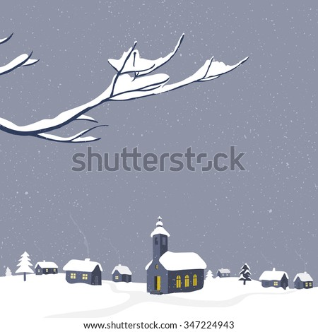 Winter scenery with snow-covered village and branch in the front. Christmas greeting card vector illustration. - stock vector