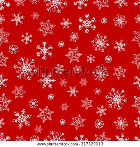 Winter seamless background with white snowflakes on red background - stock vector