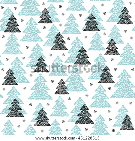 Winter seamless pattern of black and blue fir trees and snowflakes. Mosaic forest background. Cold northern wood in Scandinavian style. Vector illustration design isolated on white. - stock vector