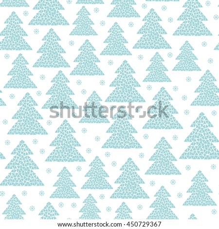 Winter seamless pattern of fir trees and snowflakes. Simple mosaic Happy New Year and Christmas background. Cold northern wood in Scandinavian style. Vector illustration design isolated on white. - stock vector