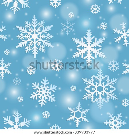 Winter seamless pattern with snowflakes on blue background - stock vector