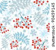 Winter seamless white pattern with berries, leaves and snowflakes (vector) - stock vector
