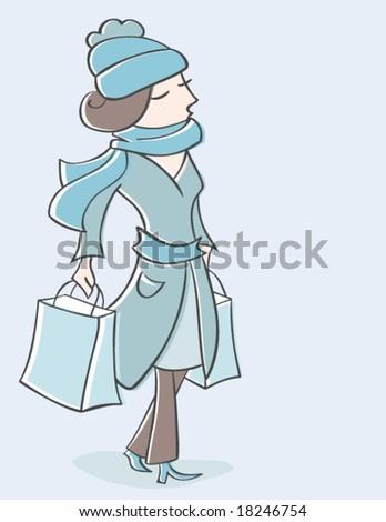 Winter Shopping - stock vector