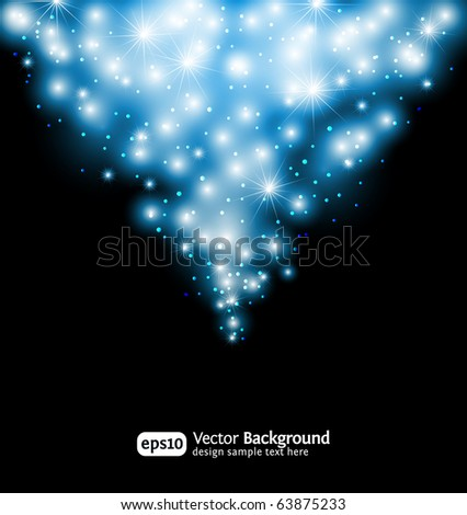 Winter snow and star background. Abstract poster with white snowflakes. eps10 - stock vector