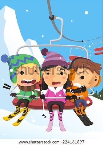 Winter Snow Kids on Ski Lift Steel Cable Cabin vector illustration cartoon. - stock vector