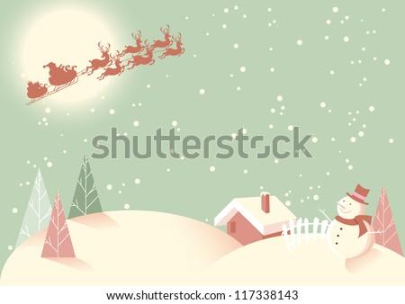 Winter Snow Scene - Soft vintage retro type feel to this subtle pastel coloured Christmas scene. - stock vector