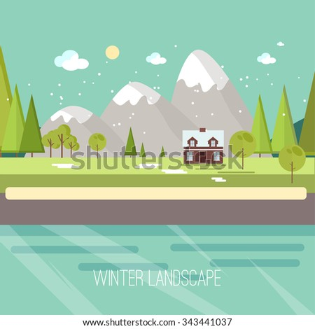 Winter Snow Urban Countryside Landscape City Village Real Estate New Year Christmas Night and Day Background Modern Flat Design Christmas house on a background of winter mountains, flat style  - stock vector