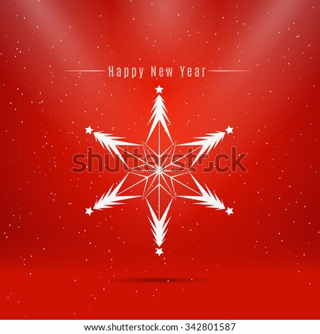 Winter snowflake isolated on red background. - stock vector