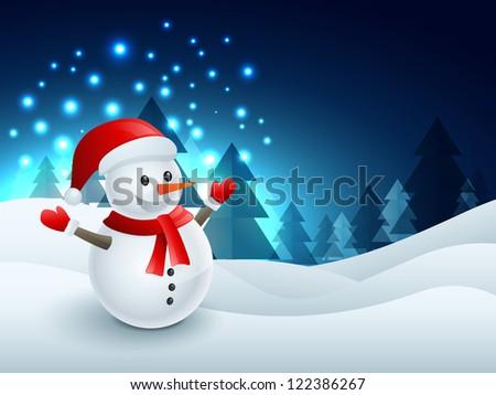 winter snowman christmas design illustration - stock vector