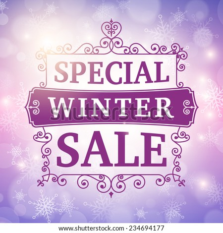 winter special sale offer poster vector background.  - stock vector