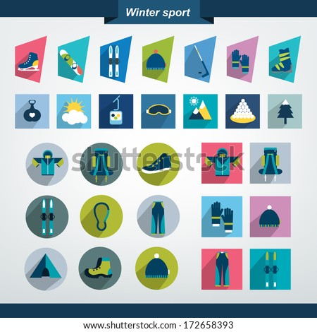 Winter sport and hiking flat icon collection. - stock vector