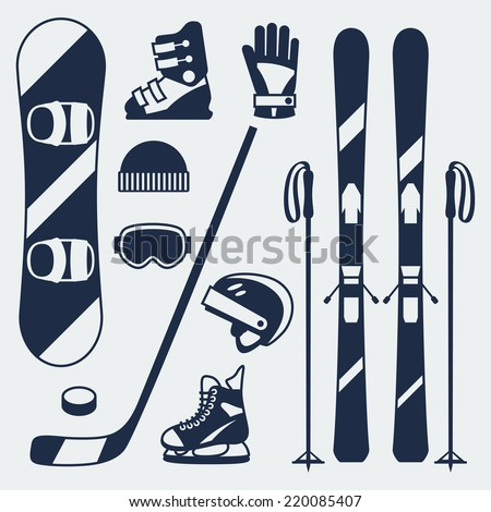 Winter sports equipment icons set in flat design style. - stock vector