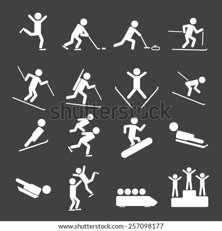 Winter Sports/Games Icons - stock vector