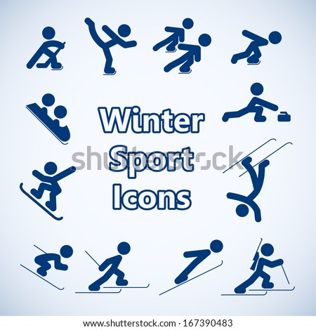 Winter sports icons of skating hockey and skiing set isolated vector illustration - stock vector